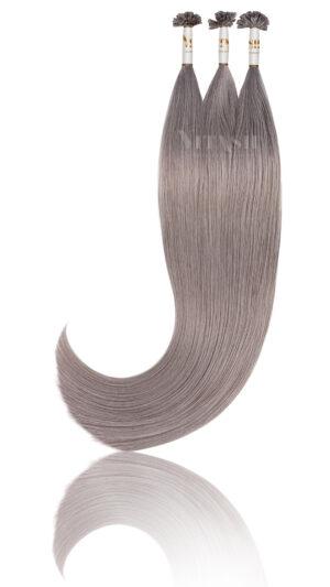 25 REMY indische Echthaar Strähnen - 0,8 Gramm pro Strähne- 40cm # Grau