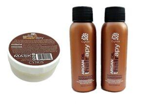 3x SET Cynos Argan oil Moisture Vitality Shampoo + Spülung +Maske in Reisegröße