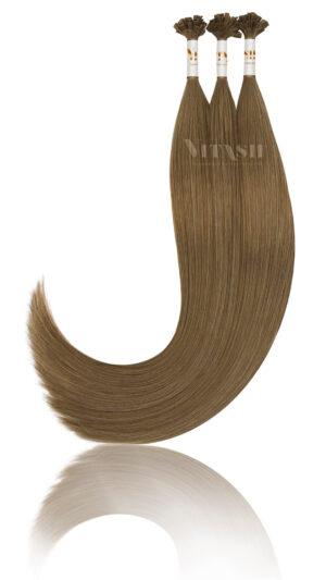 25 Russisches Echthaar Strähnen - 0,8 Gramm pro Bonding Strähne -50 cm- #10- hellaschbraun