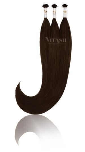 25 Russisches Echthaar Strähnen - 0,8 Gramm pro Bonding Strähne -50 cm- #1b- schwarzbraun