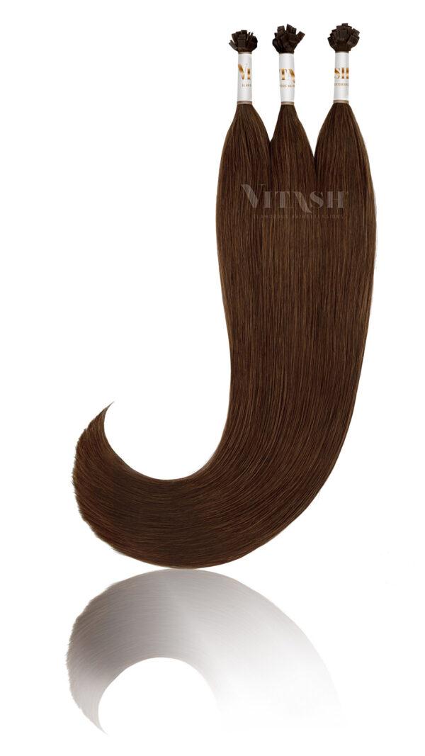 25 Russisches Echthaar | Bonding | Haarverlaengerung | Extensions | Farbe #2 Dunklebraun | 50cm