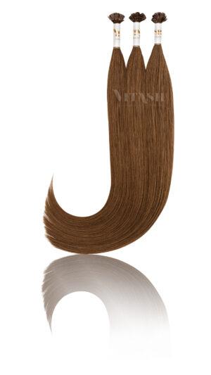 25 Russisches Echthaar Strähnen - 0,8 Gramm pro Bonding Strähne -50 cm- #4- schokobraun