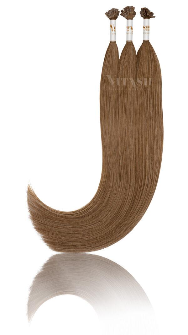 25 Russisches Echthaar | Bonding | Haarverlaengerung | Extensions | Farbe #6 Karamellbraun | 50cm