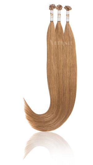 25 Russisches Echthaar Haarverlängerung Extensions | Slawisches Echthaar | Keratin Bonding | 50 cm | #12 Dunkelgoldblond
