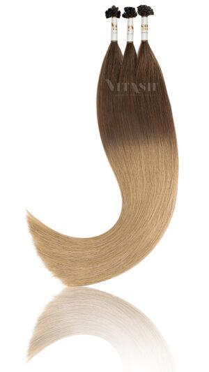 25 Russisches Echthaar Extensions Haarverlängerung | Keratin Bonding | 50 cm | Ombre A Karamellbraun-Karamellblond
